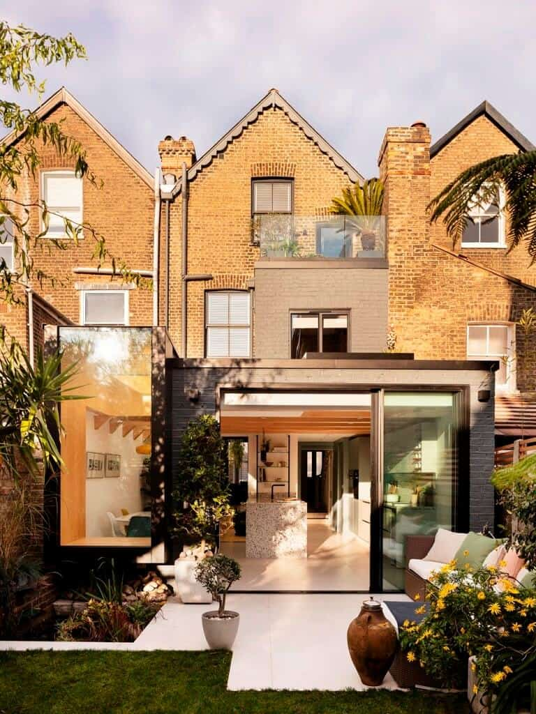 home design front, home design exterior with brick cladding