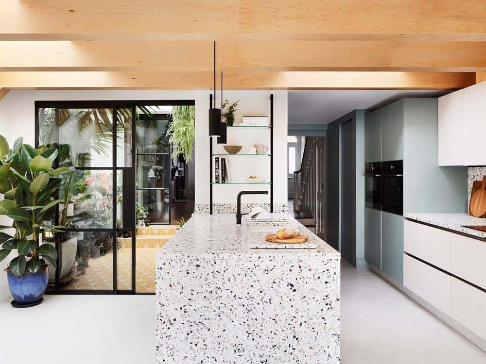 kitchen design, home design interior with wooden ceiling and accent lighting