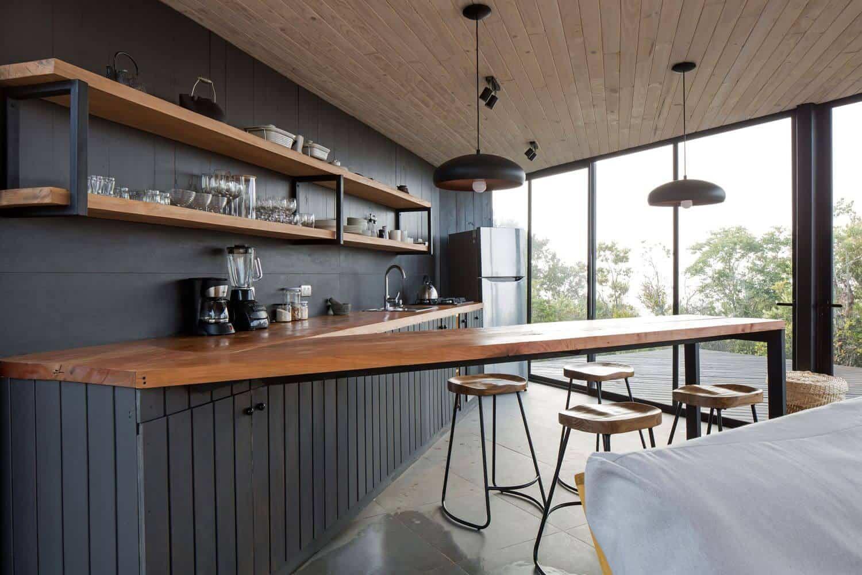 kitchen design of a house having a unique wooden countertop