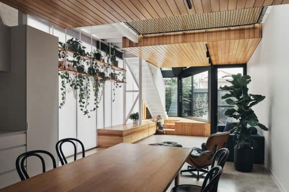 home design interior with wooden ceiling and a wood seating deck