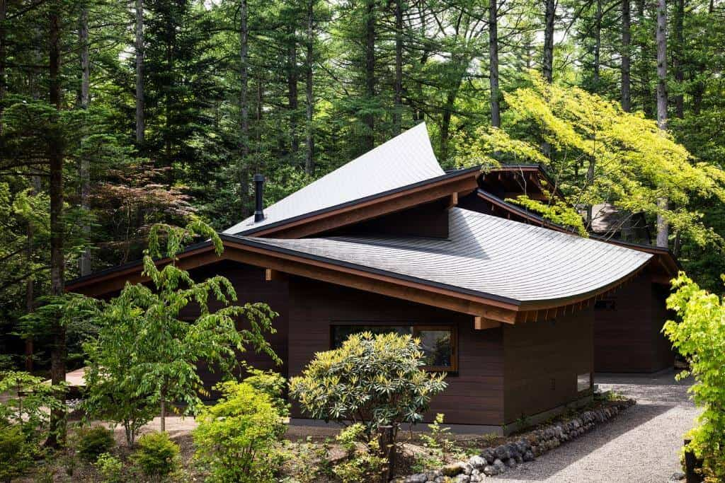 modern home design with arched roof, home design front elevation, home design exterior, roof of a home surrounded by trees, holiday home designs