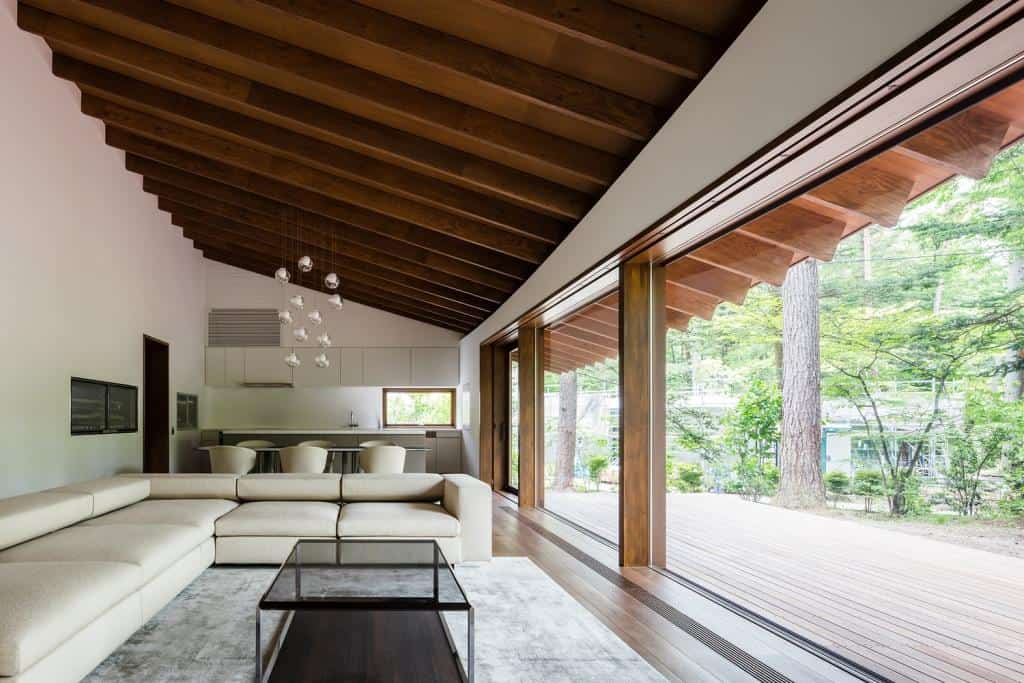 home design interior with wooden ceiling design