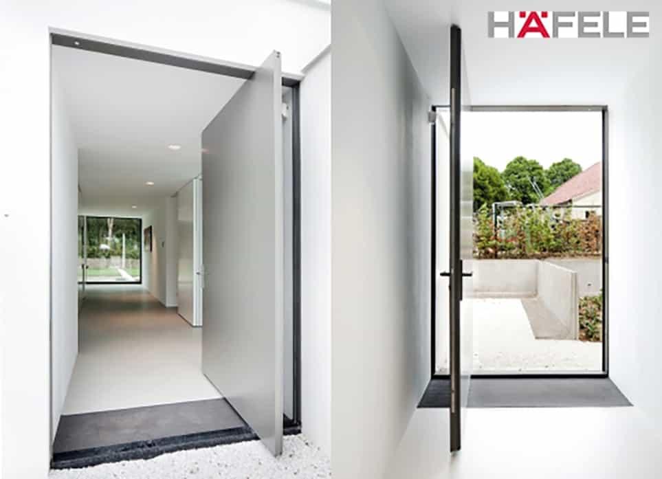 white colored pivot entrance door