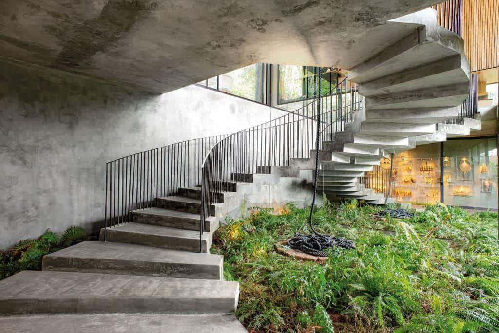 home design exterior concrete curved staircase designs