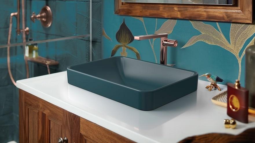 Kohler FOREFRONT vessel; peacock green rectangular bathroom sink; building materials industry