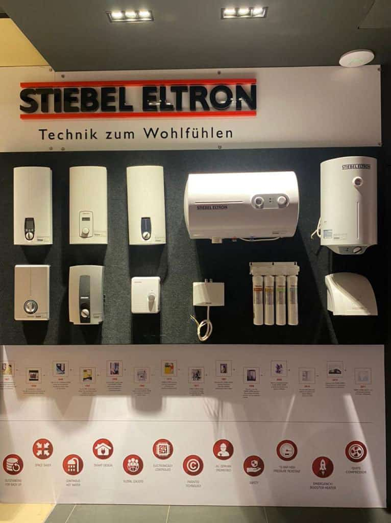 Stiebel Eltronproduct display of bathroom fitting and appliances