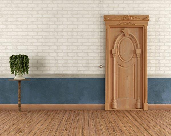Entrance solid wooden door in western red cedar