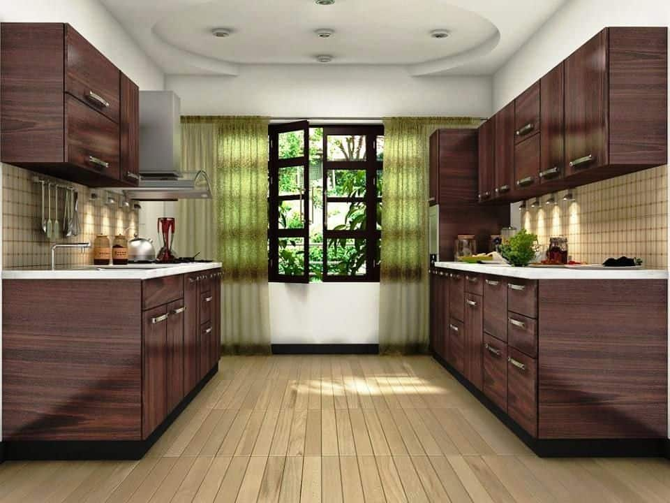 two row decor with lighting and cabinets on both sides