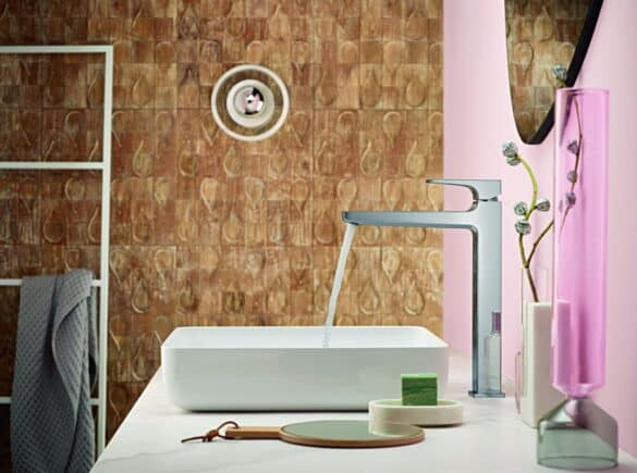 hansgrohe greenpro ecolabel certification, stainless steel faucet in a white sink