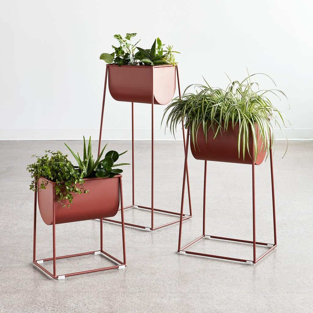 red coloured planter stand suitable for bonsai and other houseplants