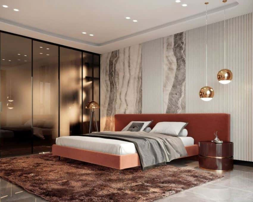 bedroom design with wardrobe having frosted glass and task lighting