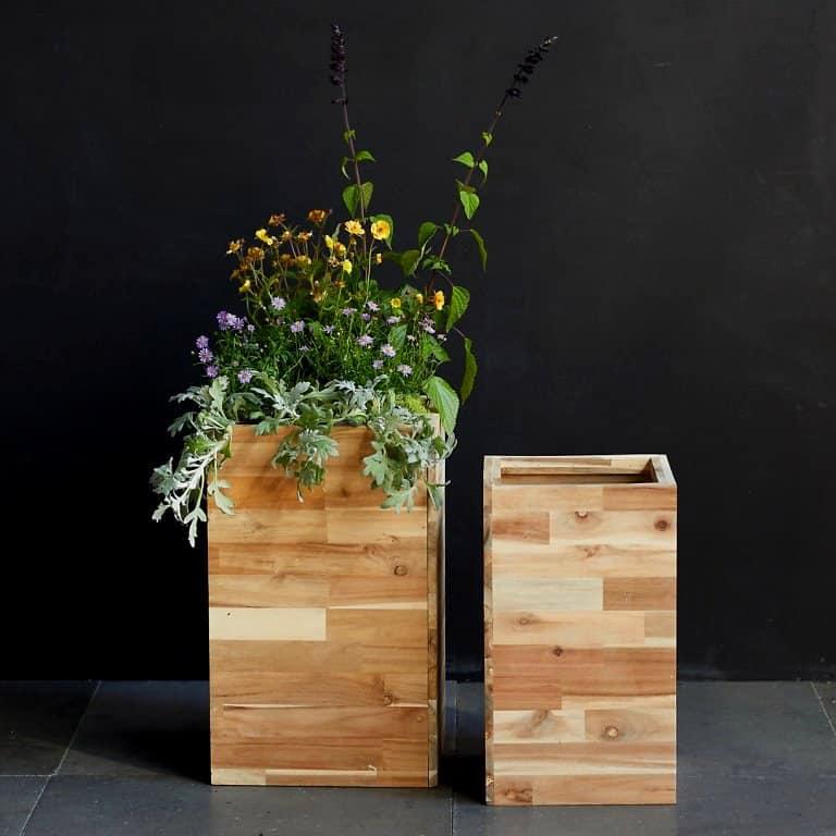 square wood planter suitable for bonsai