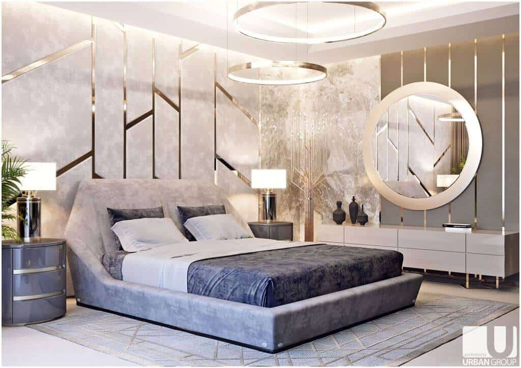 soft pink theme bedroom walls layout with gold accents