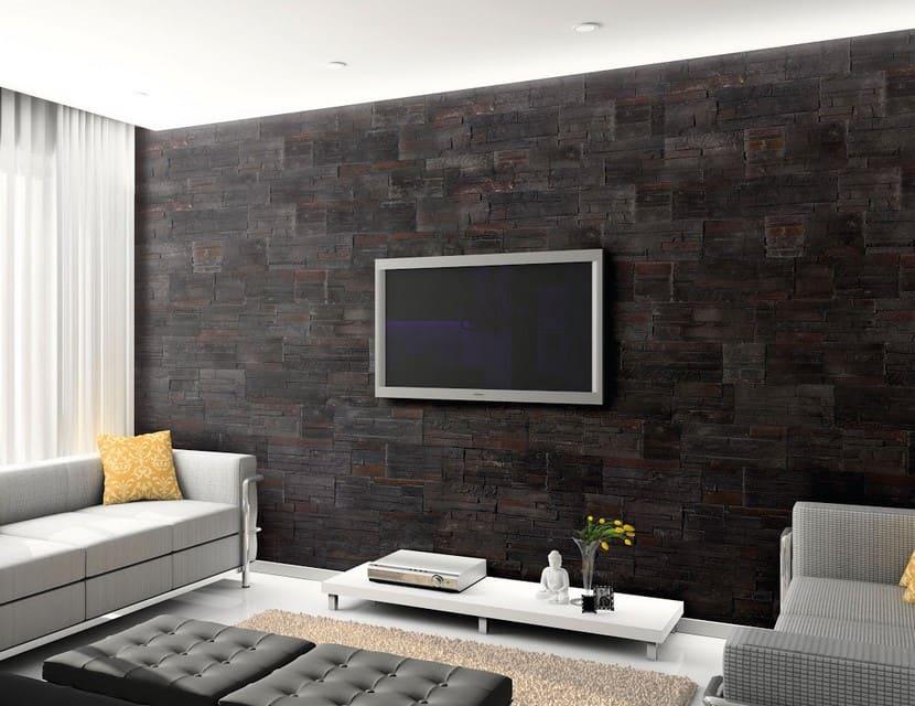 brick wood wall paneling in dark brown color