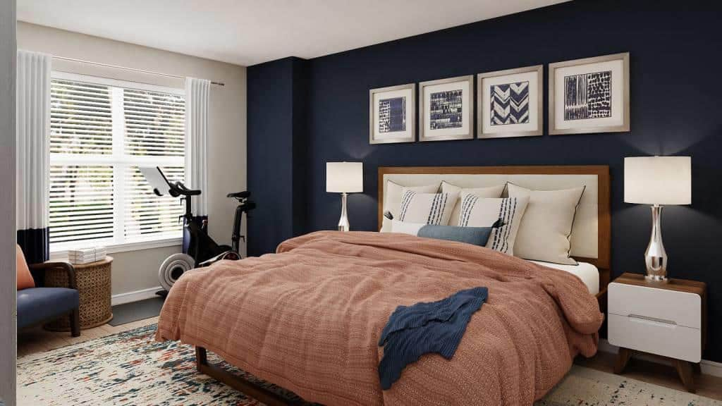 Traditional bedroom with blue and orange colour palette