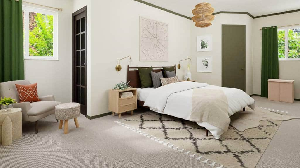 Boho bedroom filled with basil hue accents; bedroom layout
