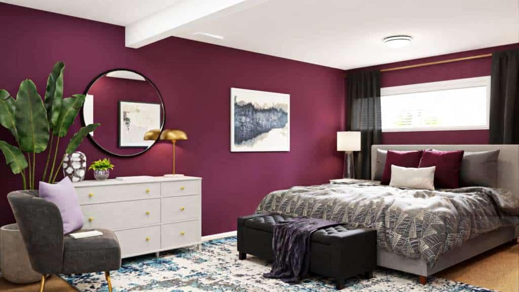 claret walls of a bedroom
