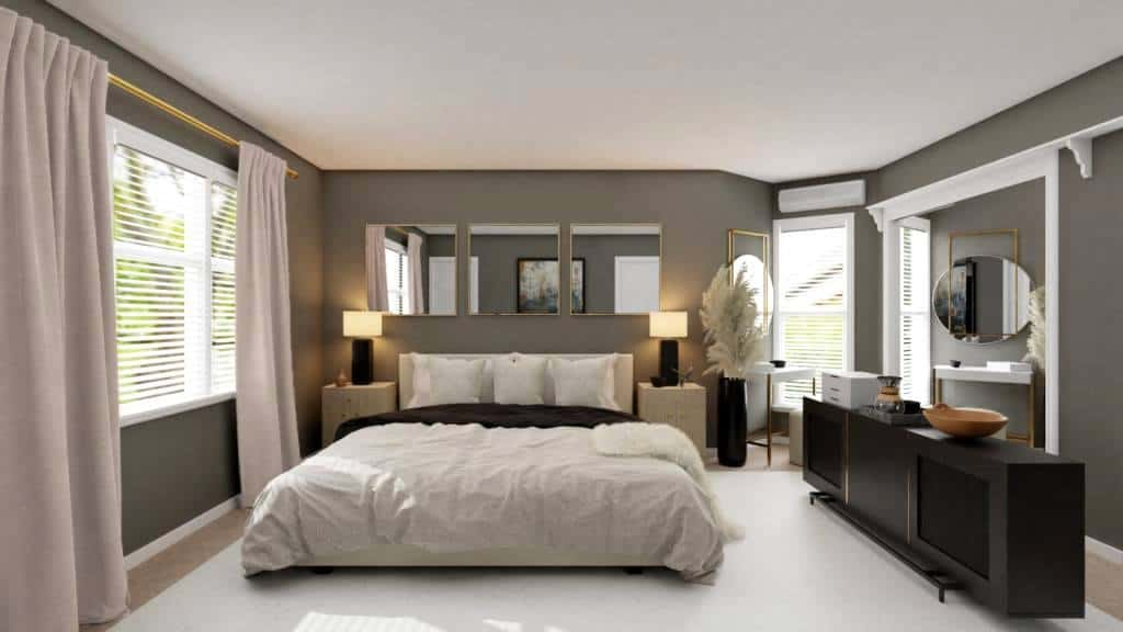 Modern glam bedroom with grey walls and gold accents