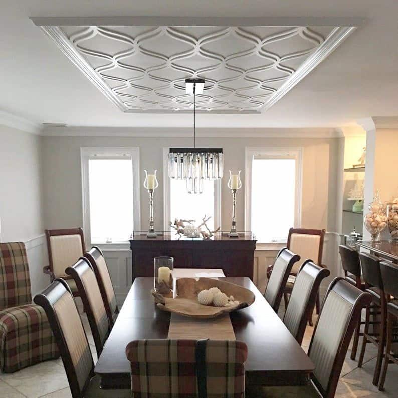 white 3D pvc paneling on ceiling