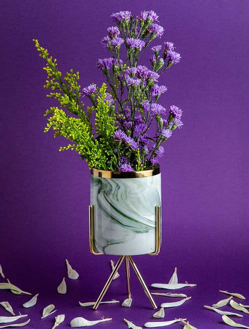 Neher Green Gold Plated Planter by A Decor Decadence
