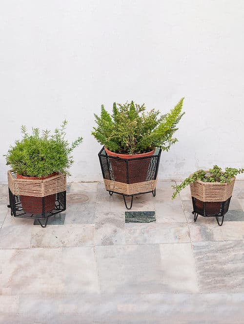 Handcrafted natural jute planters for indoor plants and bonsai