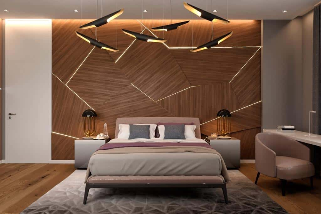 dark themed bedroom with accent lighting and wood bedback wall; Bedroom wall tiles layout