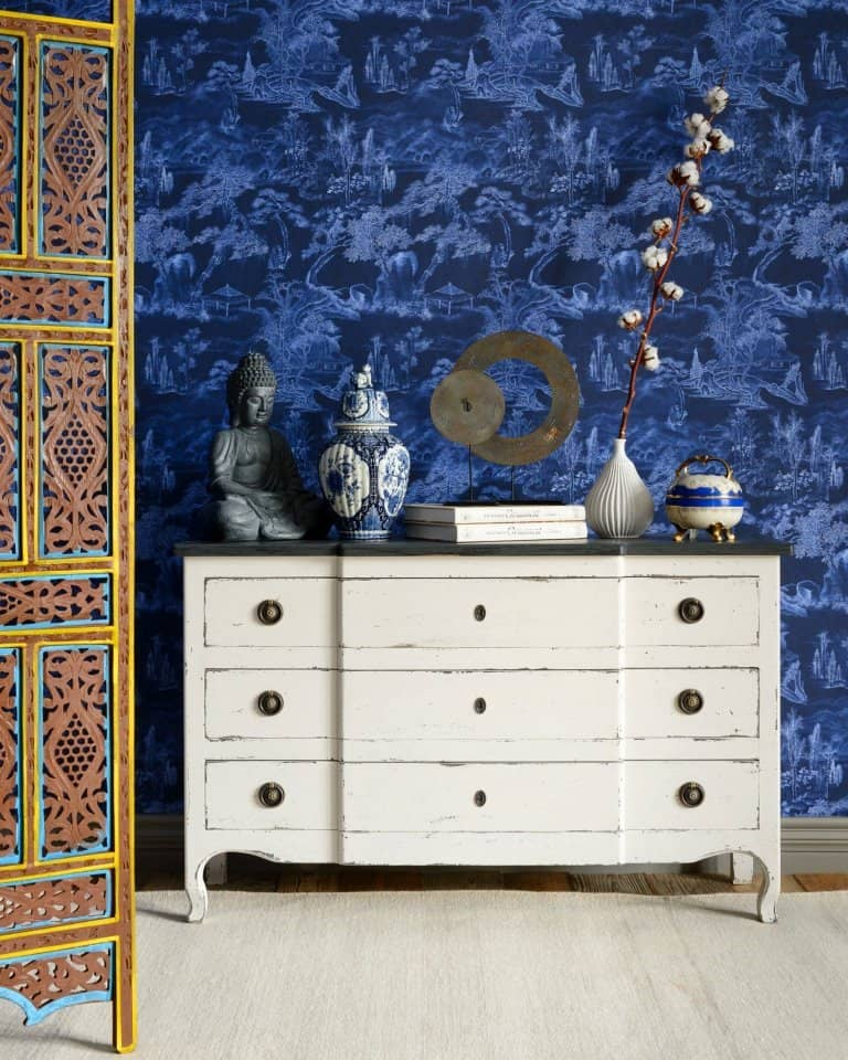 blue paint wall design with woven texture