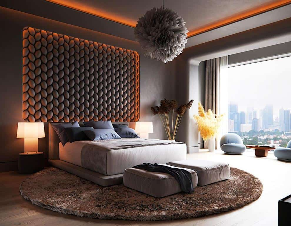 dark themed bedroom with accent lighting; bedroom false ceiling design layout