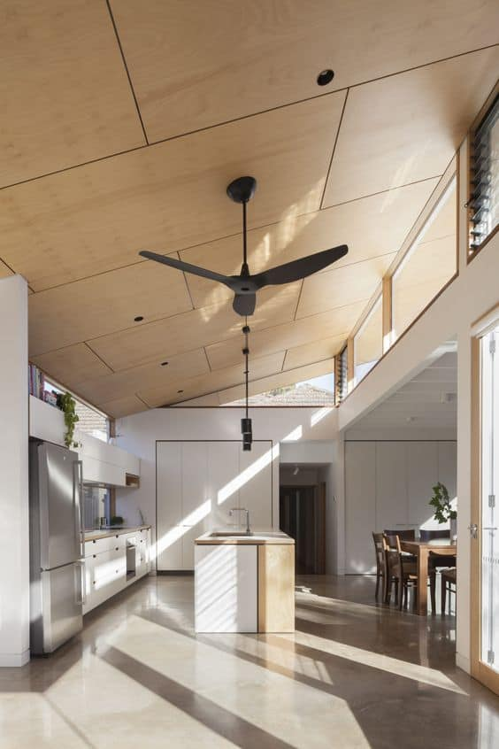 Black fan for kitchen with brown stylish ceilings.