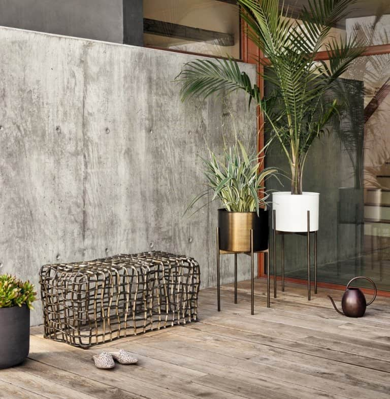 Jed Tall Planter in White High Gloss by Burke Decor, golden metal and white ceramic pots suitable for bonsai