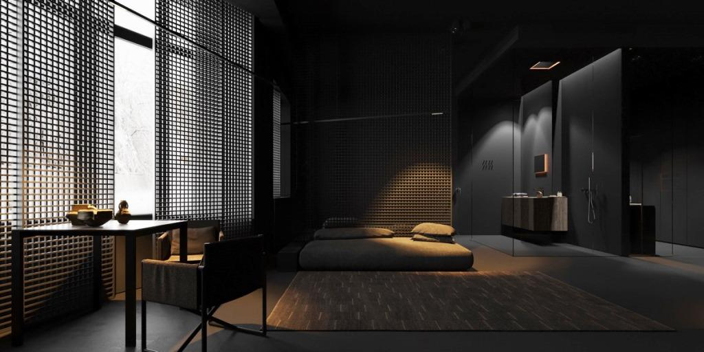 An all black bedroom with minimalist furniture; bedroom layout