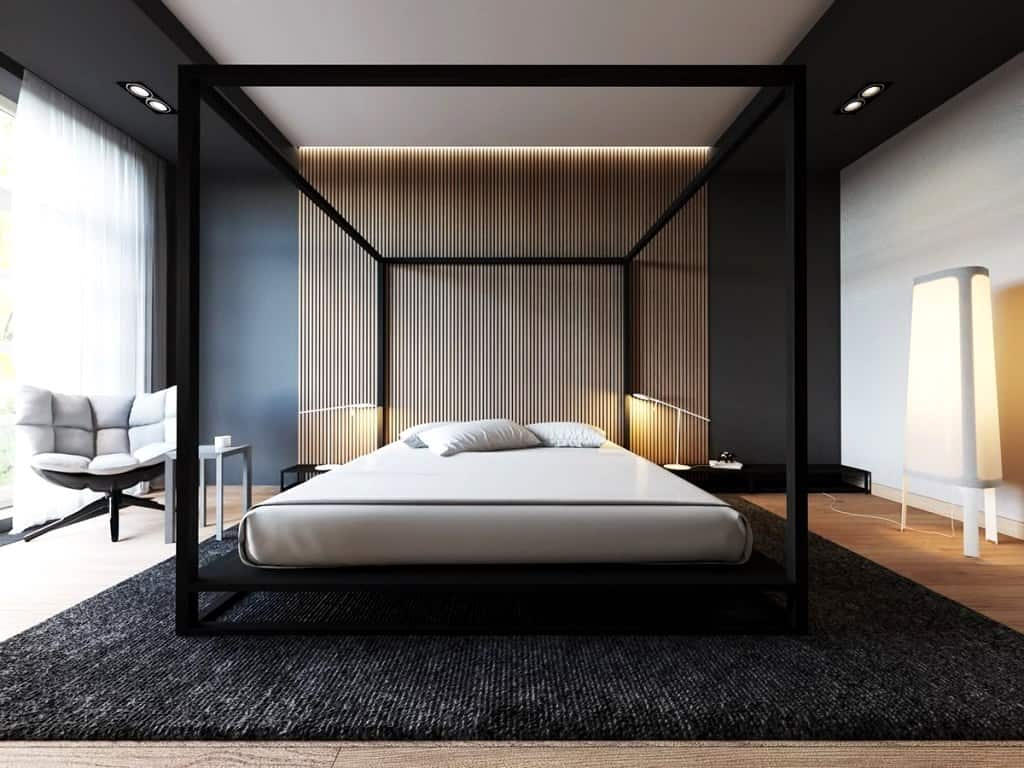 Modern black poster bed for master bedroom design