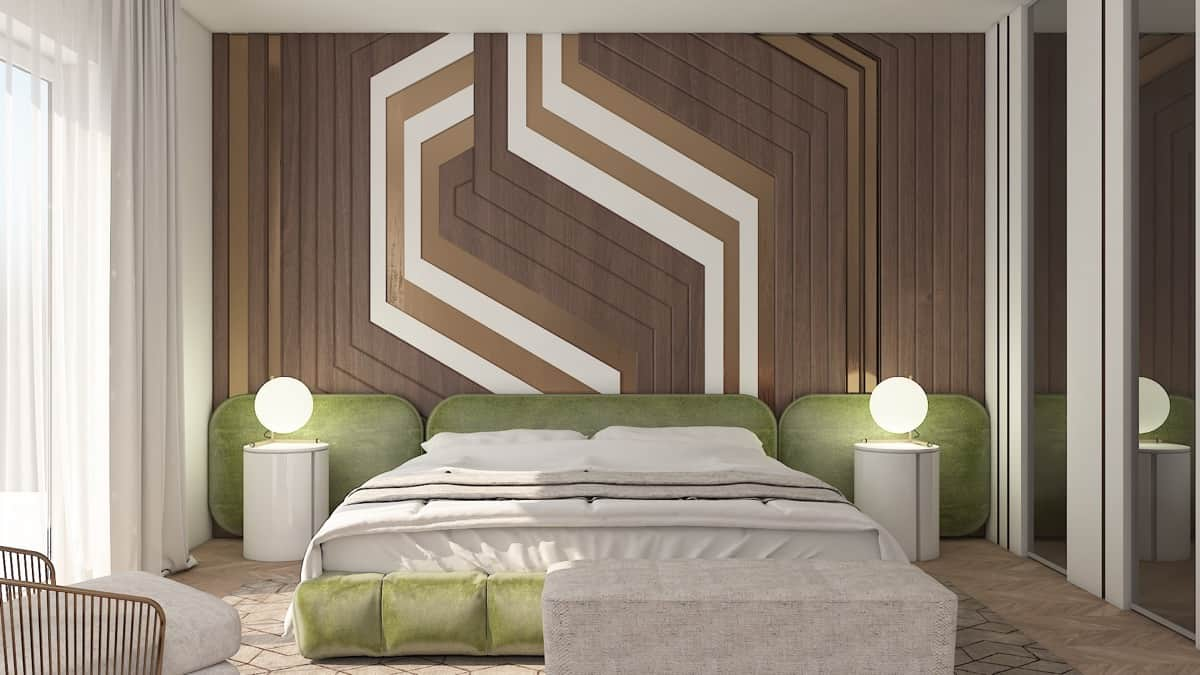 Ultra-modern bedroom with tan hues; bedroom layout