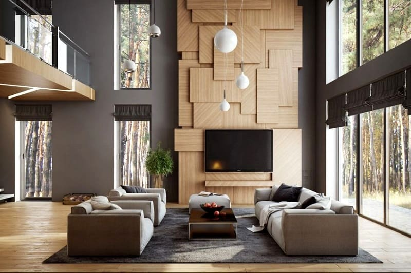 modern wood wall paneling in a living room