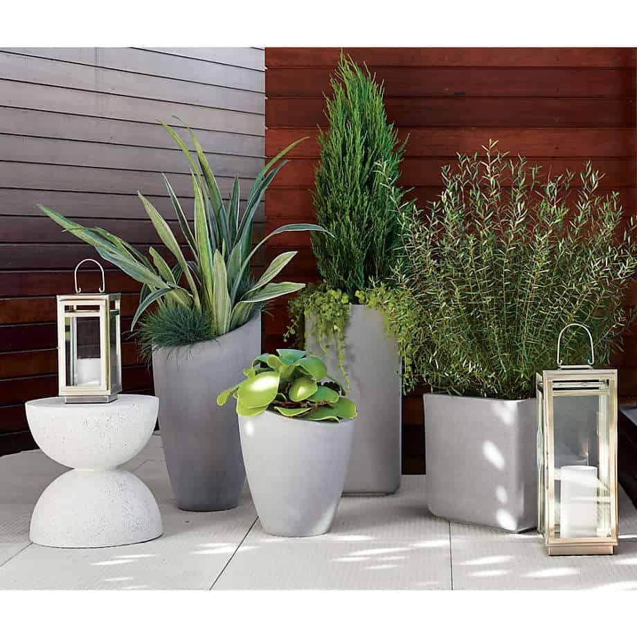 ceramic pots for indoor plants in grey colour