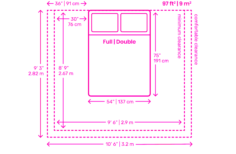 Full size double bedroom clearance layout