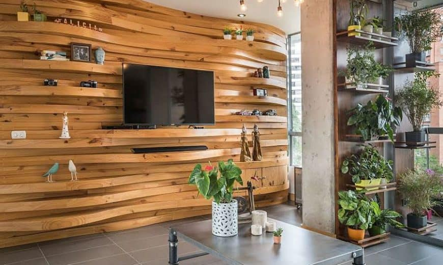 wooden wall panels for living room wall design
