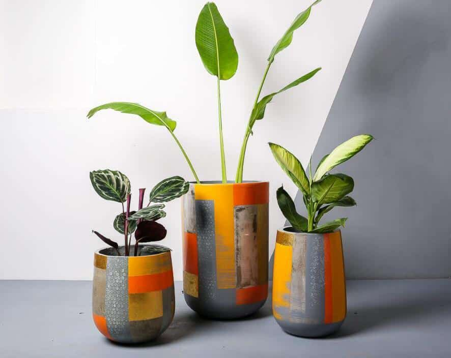 orange and grey colored planters