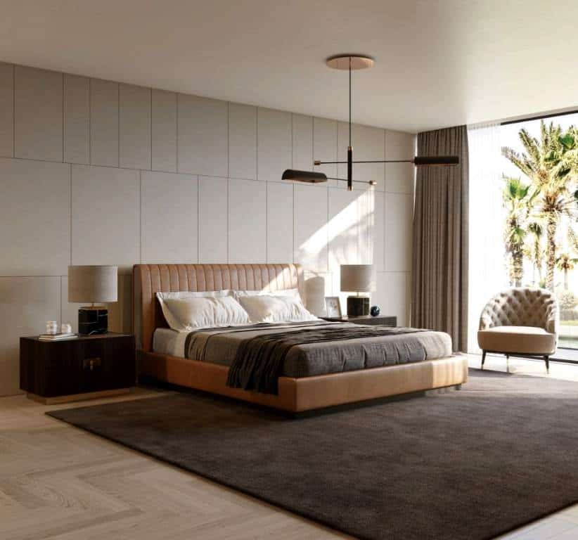 simple neutral minimalist bedroom layout with bedroom wall tiles