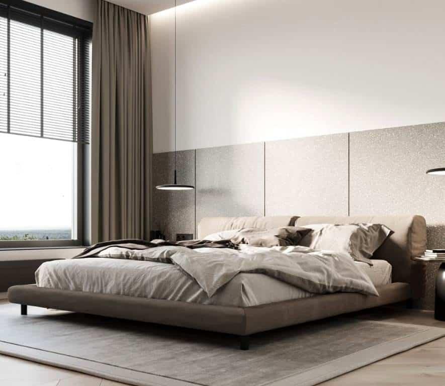 simple minimalist bedroom; bedroom wall tiles