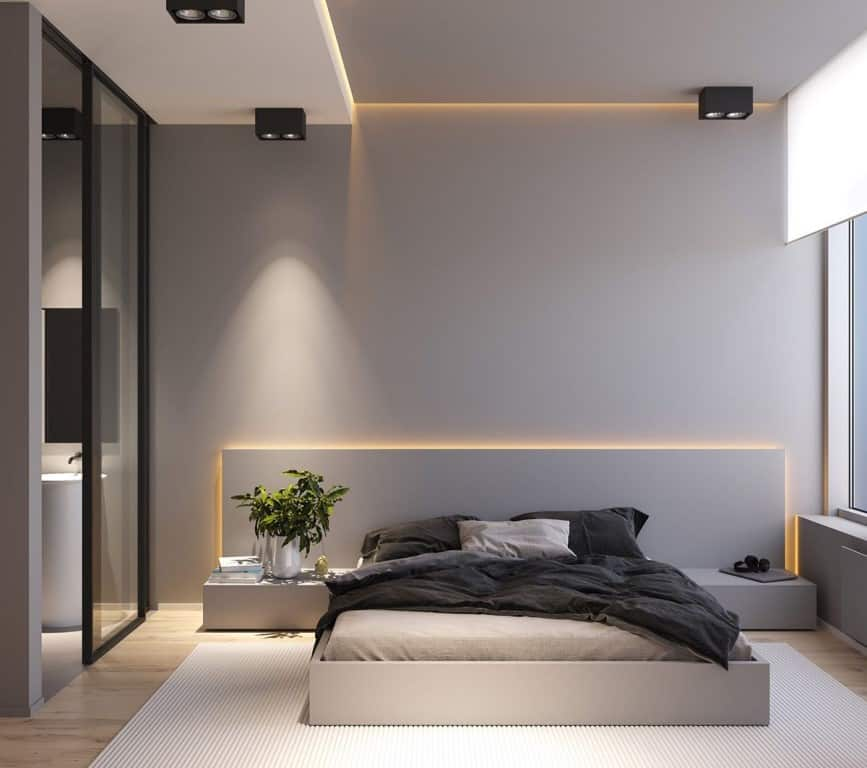 simple grey bedroom with concealed accent lighting; bedroom false ceiling design layout