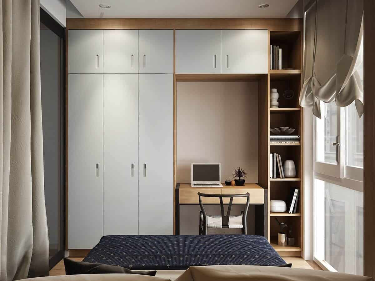 study table design integrated with wardrobe