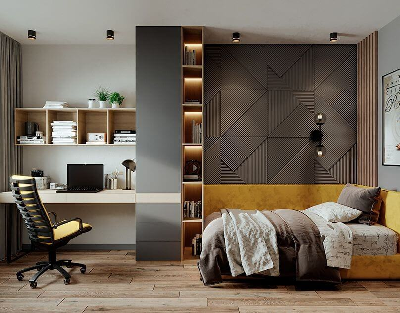 Study table in bedroom to provide a committed space for your working time; bedroom wall tiles