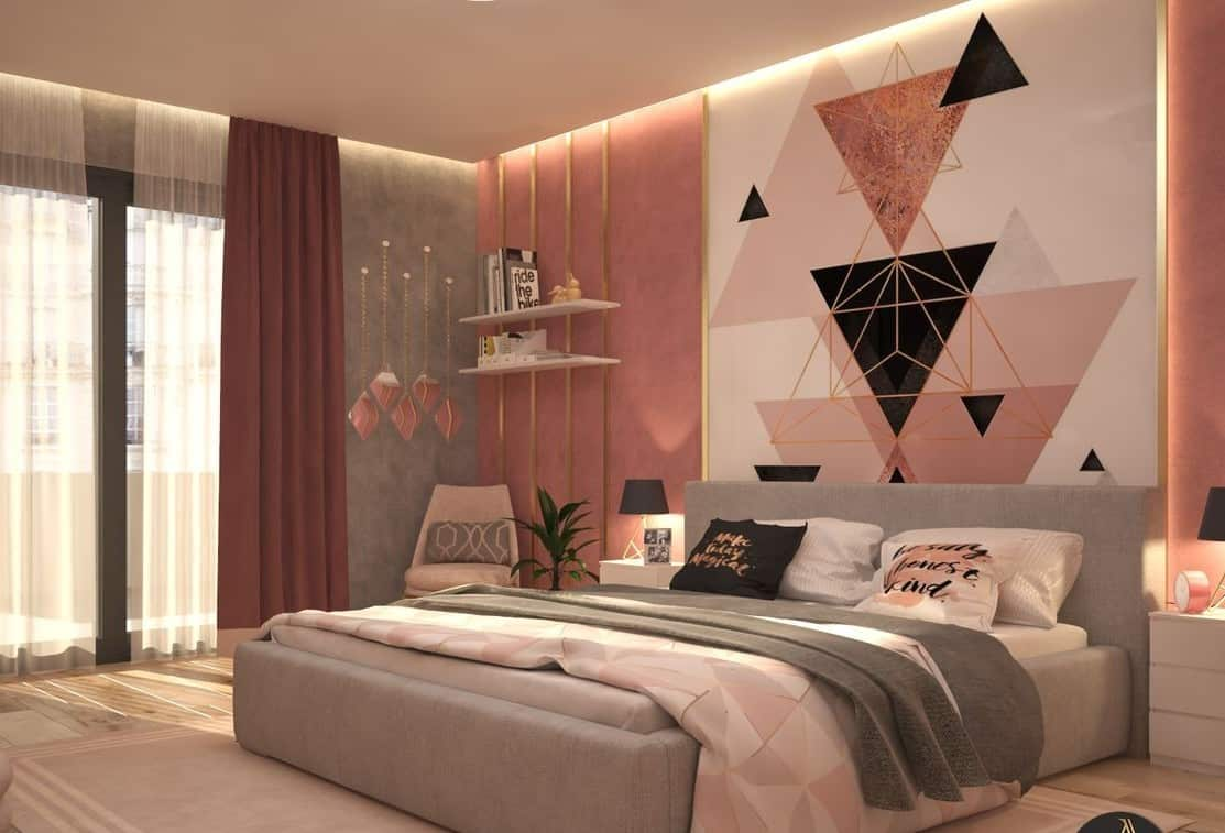 geometric wallpaper with gold highlights