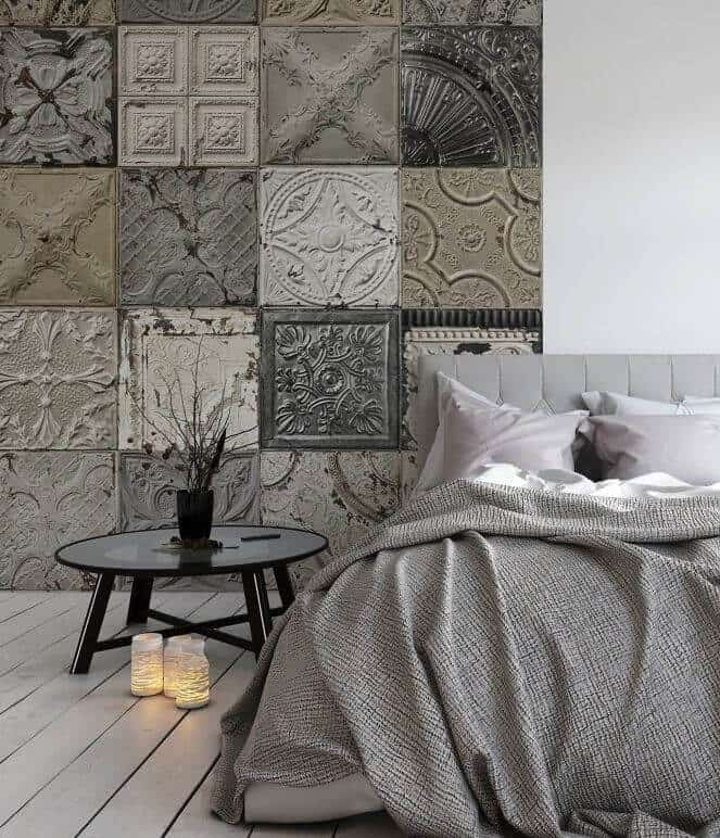 Moroccan inspired patterned bedroom wall tiles