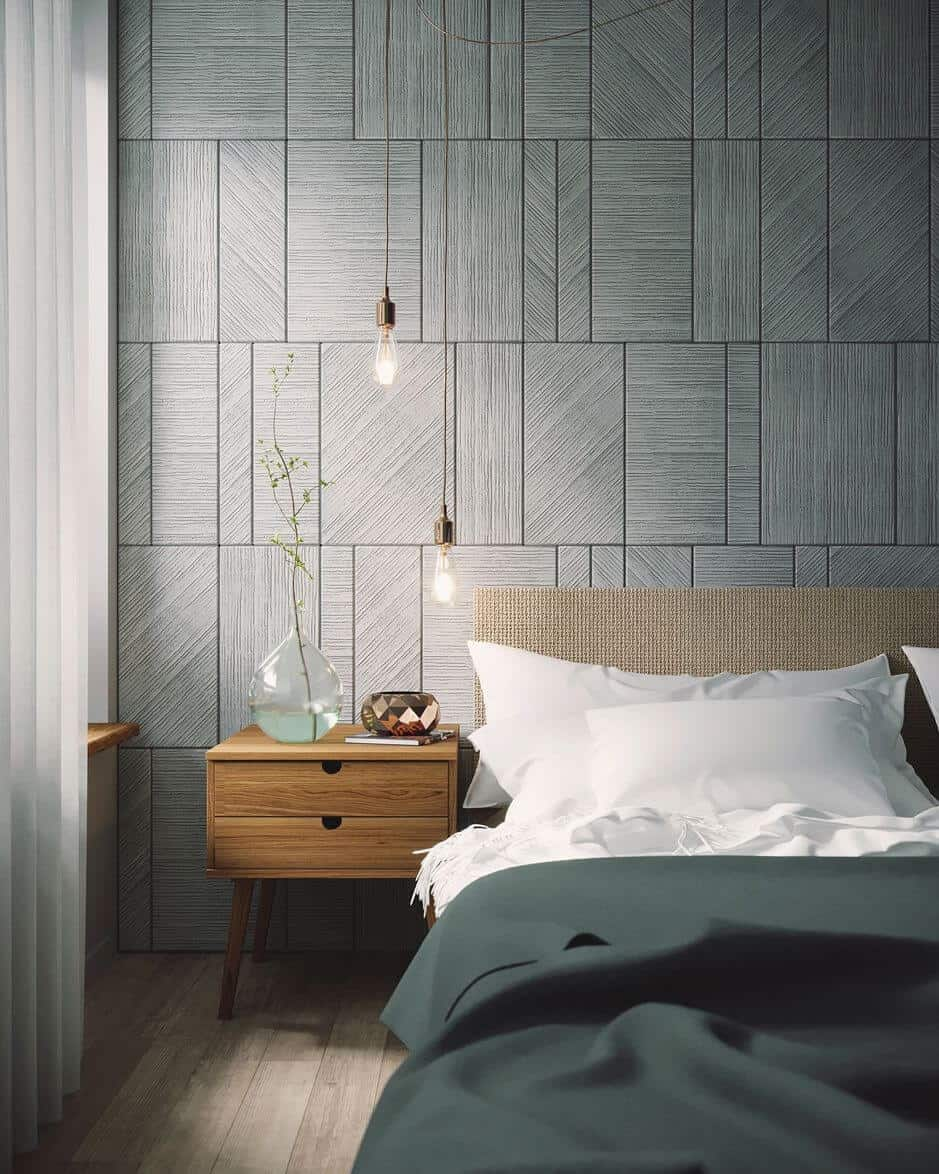 blue patterend Bedroom wall tiles