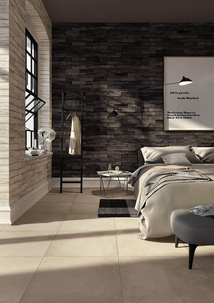 Wall design with beauty for bricks; Bedroom wall tiles