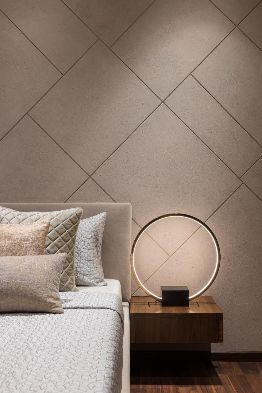 Bedroom wall tiles in earthy tones