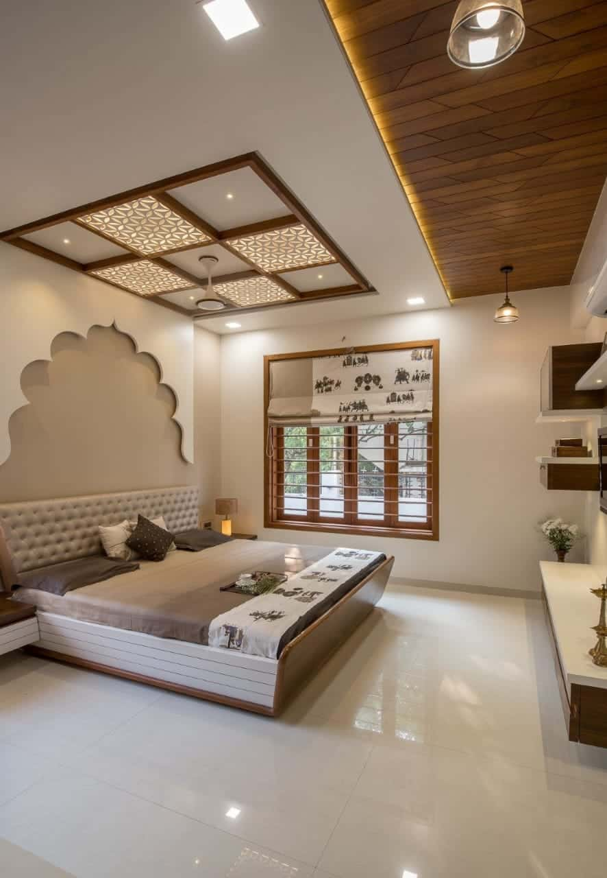 indian bedroom with coffered ceiling and concealed lighting; bedroom false ceiling design layout