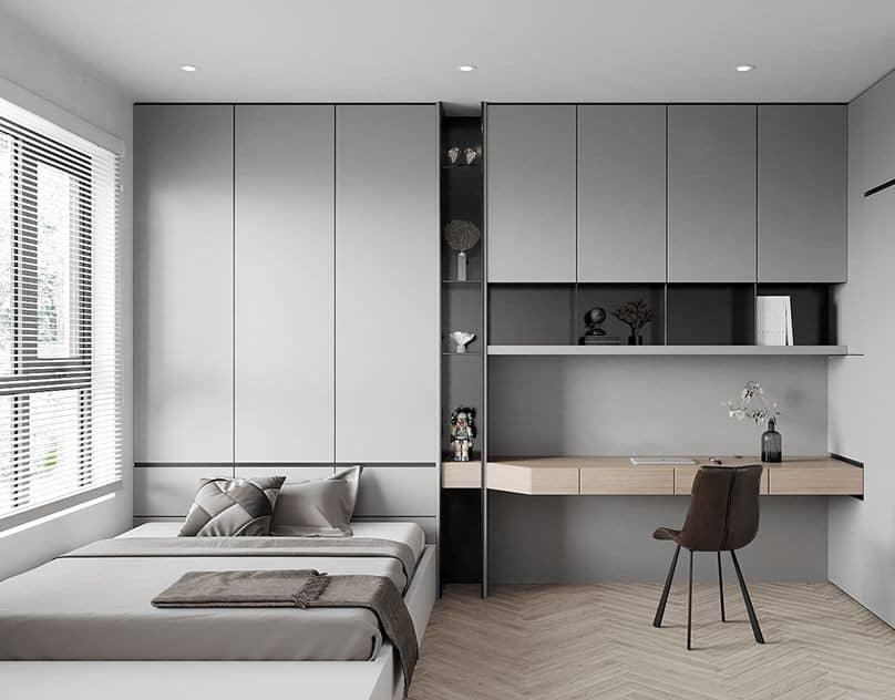 Wardrobe design with distressed gray finish